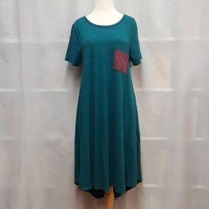 LuLaRoe Teal & Burgundy Pocket 'Carly' Dress Sz. M